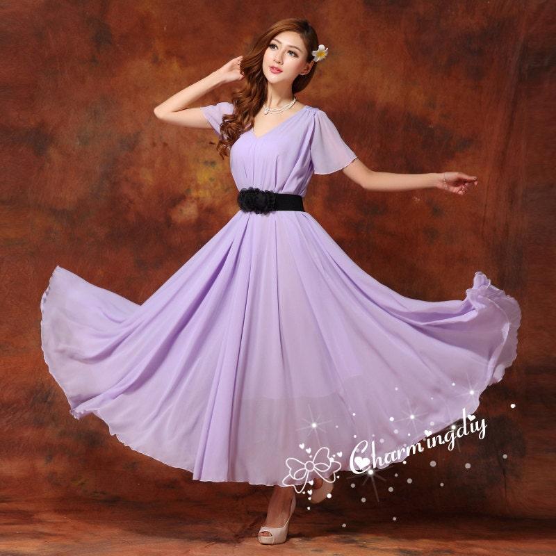 60 colores gasa luz púrpura partido vestido corto manga noche