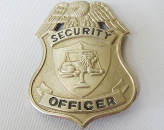 Vtg Security Officer Metal Badge Authentic