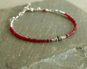 Ruby Bracelet, July birthstone gift for her, genuine diamonds, tiny natural small red rubies, sterling beads, real pave diamond ruby jewelry