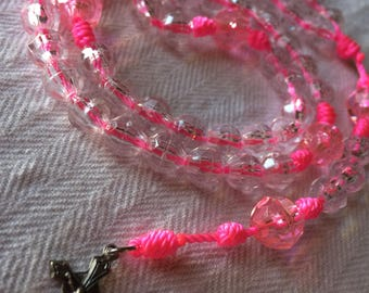 Pink Cord Beaded Rosary