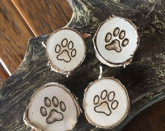Set of 4 Natural Wood Pawprint Refrigerator Magnets