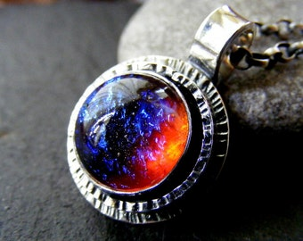 Silver Dragons Breath Large Hammered pendant round necklace with rolo chain and handmade clasp