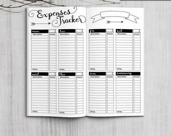 Printable Expenses Tracker, Midori Expenses Tracker, Printable Midori Traveler's Notebook Expenses Tracker inserts, PDF file