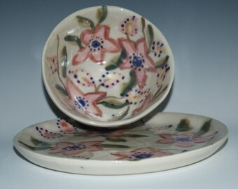 Flowered Porcelain Bowl and Plate set