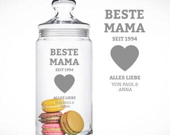 Graviertes Keksglas für die Beste Mama Vorratsglas mit Namen Mutter Muttertag Bonboniere Aufbewahrungsglas Keksdose
