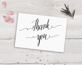 Thank You Card Printable Thank You Card Template, Modern Calligraphy Thank You Cards Instant Download, Rustic Thank You Card Caligraphy
