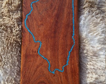 Illinois silhouette in beautiful mesquite and inlaid with turquoise