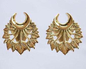 Brass ear saddle , ear wights. Floral motifs