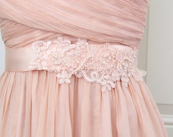Blush Peach Sequined and Pearl Beading Lace Sash, Bridal Sash,Bridesmaid Sash, Flower Girl Sash / SH-40
