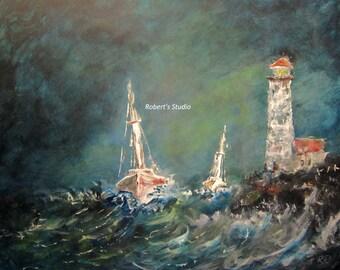 Print of Original Seascape Painting, nautical painting, sailboat painting, landscape painting, lighthouse painting, ocean painting