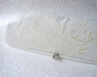 Vintage Beaded Wedding Clutch Rhinestone Clasp Bags By Debbie Purse Long Handbag Art Deco Design Evening Bag Bridal Formal Silk White Ivory