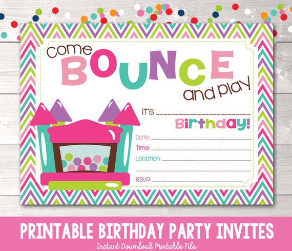 Bounce house instant download birthday party invitation girls filmwisefo Image collections