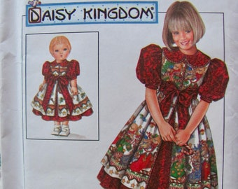 Simplicity 7349,, Girls Size  6, 7 and 8, Daisy Kingdom Dress and Pinafore and Matching 17 Inch Doll Clothes Sewing Pattern,