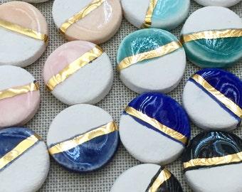 Ceramic & 22kt gold Stud Earrings, minimalist geometric studs, gold earrings, ceramic earrings, minimalist earrings ceramic studs white gold