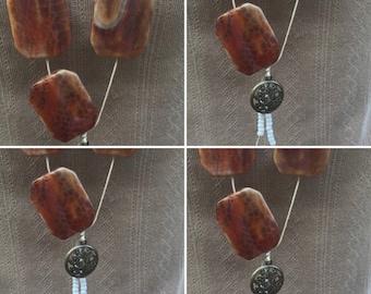 Agate YNecklace, Gemstone YNecklace, Handmade YNecklace, Flower Charm Necklace, Edinburgh Jewellery, Handmade Jewellery in Scotland, U.K.