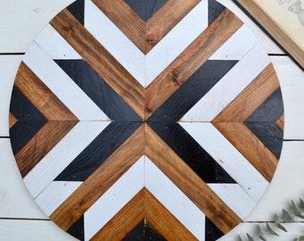 "18"" Geometric Wood Round"