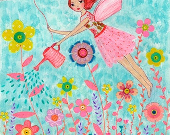 Fairy Art - Garden Fairy Painting - Fairy Tale Art - Wooden Art Block - Fairy Illustration - Fairy Theme - Children Decor - Nursery Wall Art
