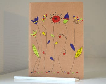 Painted notebook, notebook modern stylized flowers, stylized art book, notebook, woman, book, size 21 x 15
