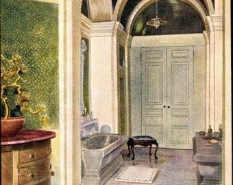 c.1930s QUEEN Elizabeth's DOLLHOUSE Furniture; The Queen's Bathroom; Raphael Tuck & Sons Postcard No. 4502; Series III; Mint Condition
