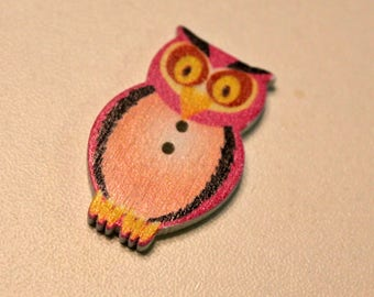 x 1 button in wood - OWL-OWL - color choice - sewing Scrapbooking Home decor