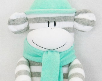 Sock Monkey Grey and White Stripes with Aqua Hat and Scarf Baby Toy