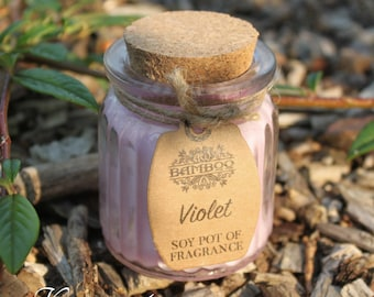 Soy wax candles violet in glass with cork lid