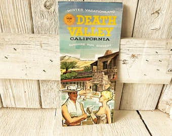 Vintage Death Valley map and guide recreation brochure camping history mid century graphics 1960s- free shipping US