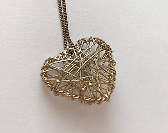 Heart pendant Necklace, Gold necklace, Long pendant necklace, Very unique, Gift for her