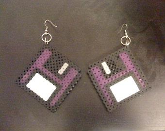 Perler Floppy Disk Earrings