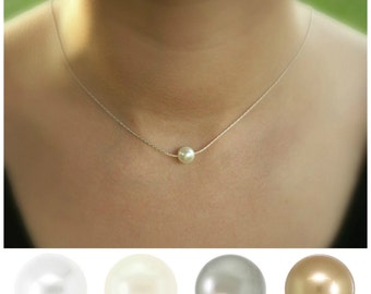 Floating pearl necklace, thin silver chain, single pearl necklace, pearl solitaire, white pearl necklace, ivory pearl, bridesmaid necklace