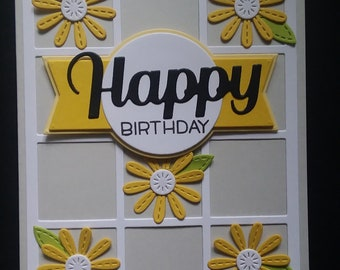 Hand Made Daisy Flower Happy Birthday Card