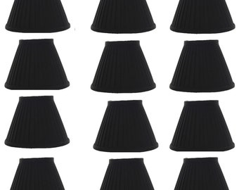 Set of 12 Silk Side Pleat 5 Inch Black with Gold Chandelier Shade Mini Clip on