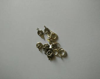 set of 13 silver clasps, 10 x 7 mm tube shape