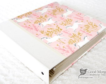 0 to 12 months Baby Memory Book - Pink Unicorns