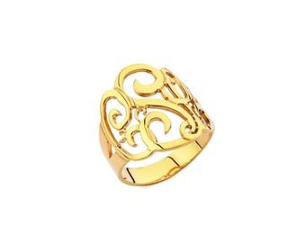 Monogram Ring - Personalized Monogram Ring - Handmade Initials Ring - Bridesmaid Gift - Wedding Gift - Sterling Silver Handmade in New York