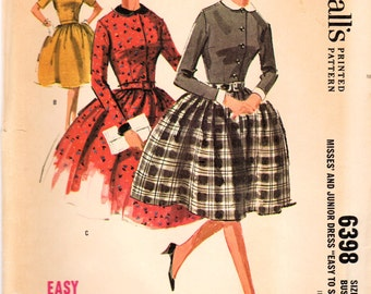 1960s McCall's 6398 UNCUT Vintage Sewing Pattern Junior and Misses Full Skirt Dress, Shirtwaist Dress Size 11 Bust 31-1/2, Size 16 Bust 36