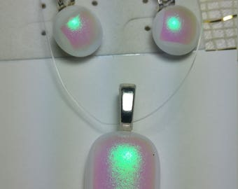 Iridescent white and pink fused glass pendant and earrings set