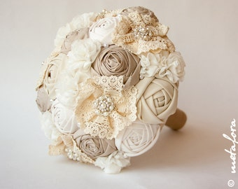 Fabric Bouquet, Vintage Bouquet, Rustic Bouquet, Unique Wedding Bridal Bouquet