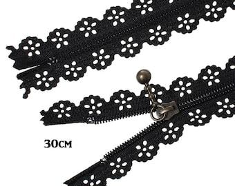 Lace zipper black 30cm not separable