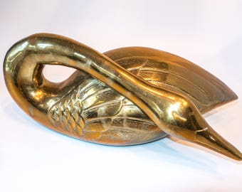 Vintage Castilian Brass Swan Sculpture Doorstop Large Hollywood Regency