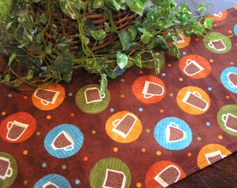 Table Runner Coffee Cups Latte Mocha Cappucino Padded
