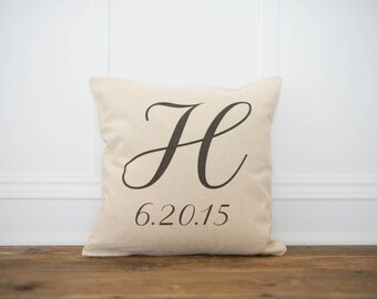 Personalized Monogram and wedding date pillow cover
