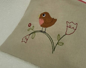 Classic linen crafty animals embroidered zipper pouch