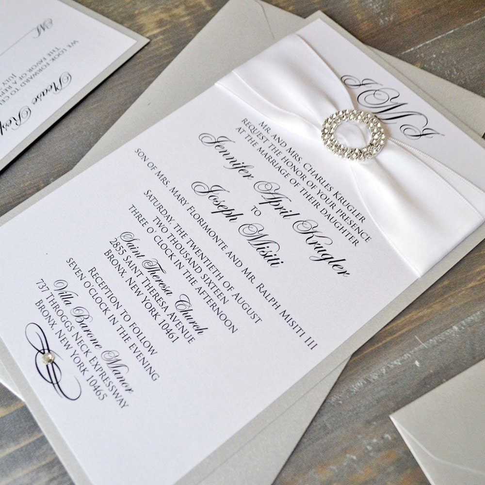 JENNIFER - Silver & White Shimmer Wedding Invitations with ...