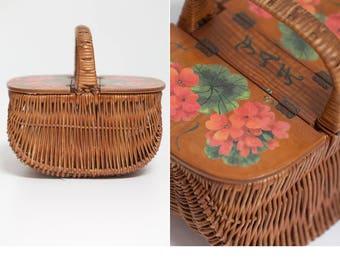 70s Decoupage Basket Purse • Box Purse • Decoupage Sewing Box • Floral Decoupage Wicker Purse Box • Wicker Box Purse