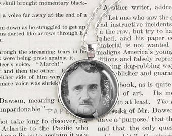 Edgar Allan Poe - Poe Necklace - Literature - Author Jewelry - Book Jewelry - Literary Jewelry - Poe Photo - Book Gifts -   (A4660)