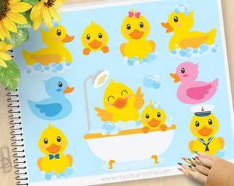 Bath Time Ducky Clipart, Rubber Ducky, Yellow Duck Clipart, Bubble Bath, Baby Shower, Decal, Commercial use, Vector Clip Art, SVG Cut  files
