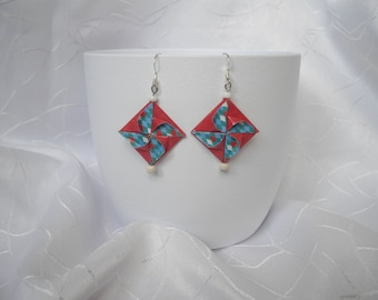 """Earrings diamond Harlequin """"Windmill"""" origami, paper and beads, Carnival"""