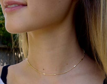 Dainty Beaded Bar Chain Choker, Layering Choker Necklace, Delicate Gold Necklace, Gift For Her
