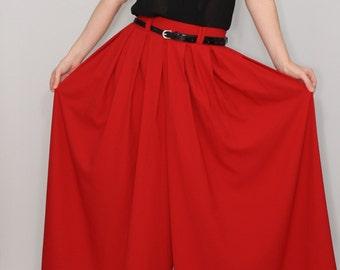 Red palazzo pants  / Fashion skirt pants  / Chiffon wide leg pants pants  / Summer pants / Plus size